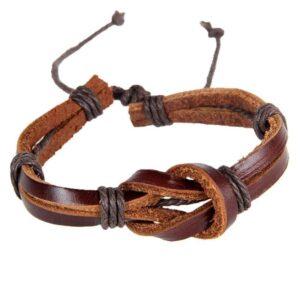 """Armband i läder """"Loops"""" - Svart / brunt"""