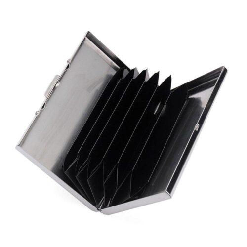Slät korthållare i rostfritt stål med inredning - Silver