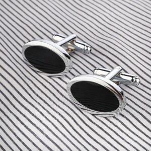 Manschettknappar - Eleganta ovala i silver och svart