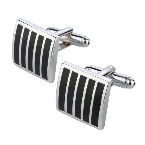 Manschettknappar - Eleganta i silver med svarta ränder