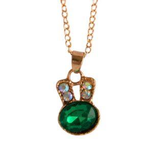 Halsband i guld med grön kristall