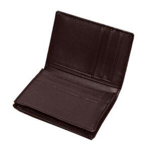 Stilren kortplånbok i slätt brunt läder