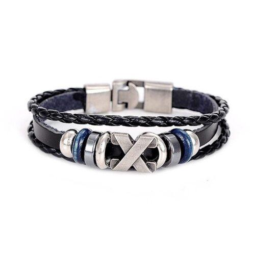 Rejält armband i äkta läder med metalldetaljer - Svart