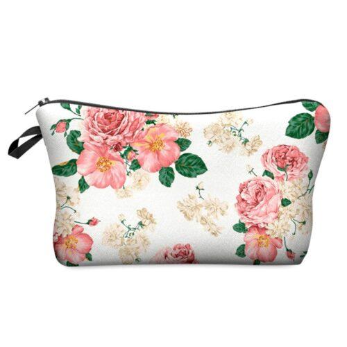 Tuff sminkväska med tryck - Vit med rosa blommor