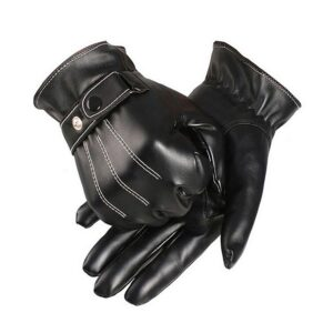 Klassiska handskar i konstläder - Svarta med vita sömmar