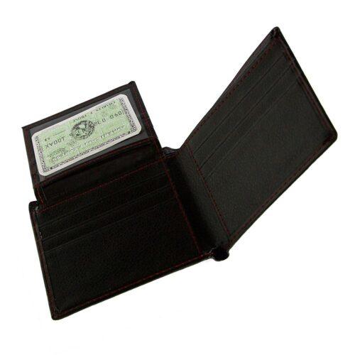 Stilren rymlig plånbok med röda stygn - Svart