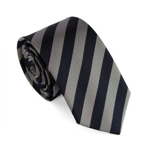 Smal / slimmad slips - bredrandig i silver och mörkblått