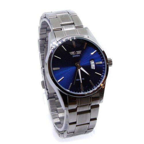 Stilfull klocka i silverfärgat stål m datum - Välj färg urtavla