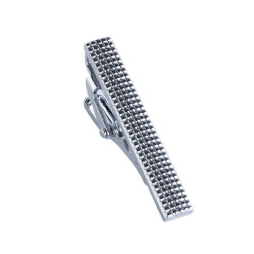 Slipsnål / Slipsklämma i silver - Knottrig kort modell