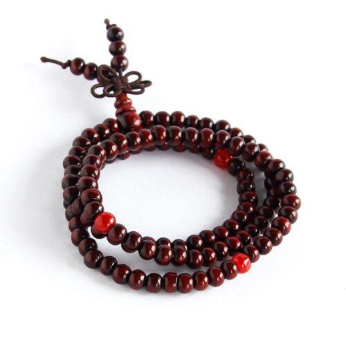 Armband med träkulor i svart eller brunt
