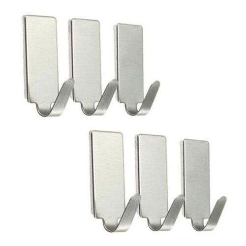 Självhäftande krokar i rostfritt stål - 6-pack