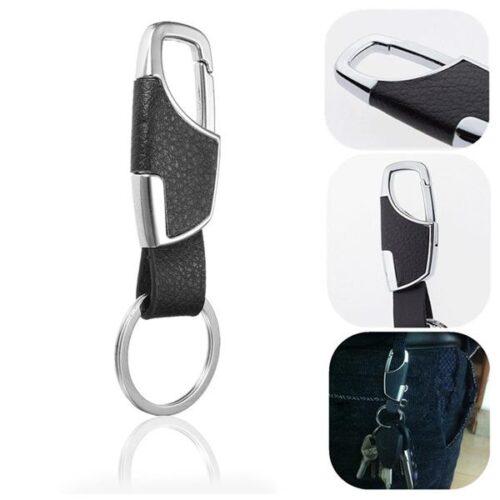 Rejäl nyckelring med läderklädd hake