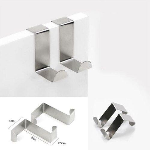 Dörrkrokar i rostfritt stål - 4-pack