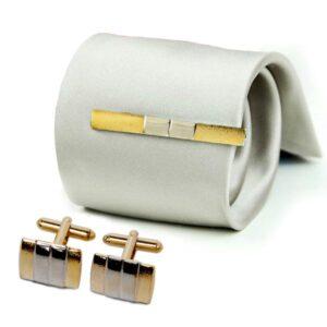 Set Manschettknappar + slipsklämma guld / silver