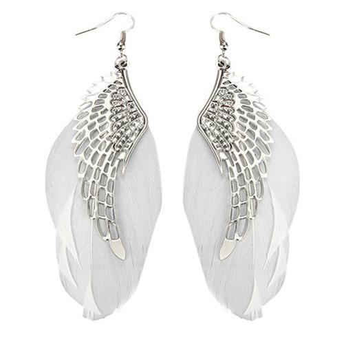 Örhängen fjädrar med vingar i silver - Olika färger