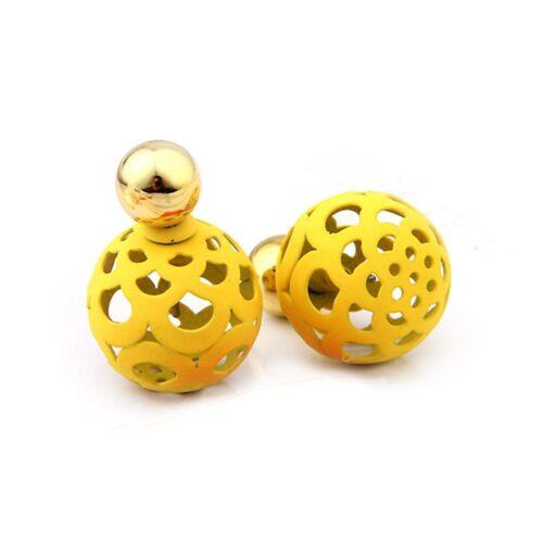 Tuffa dubbla örhängen med sirliga bollar olika färger