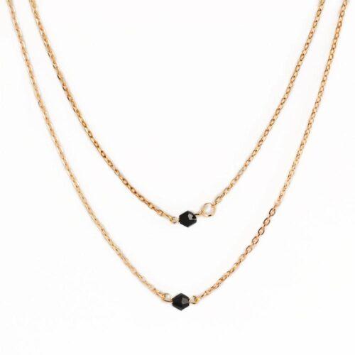 Dubbel halskedja i guld med svarta slipade pärlor