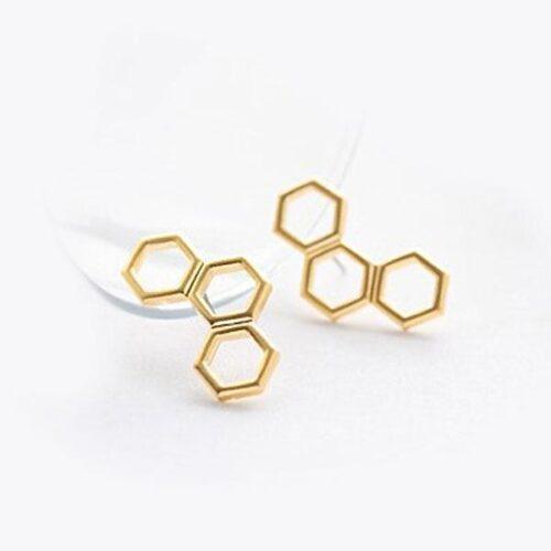 """Örhängen """"Triple Hexagon"""" i guld"""