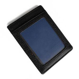 Vertikal korthållare i läder med ID-fack - svart