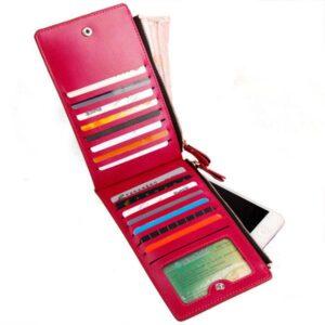 Dubbelsidig damplånbok med många kortfack - mörkrosa