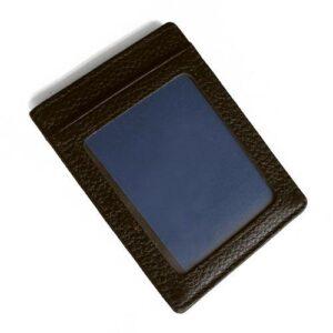 Vertikal korthållare i läder med ID-fack - brun