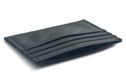 Slimmad korthållare i äkta läder - Svart