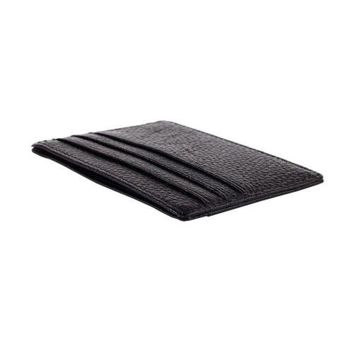Stilren korthållare i äkta läder med fönster - Svart