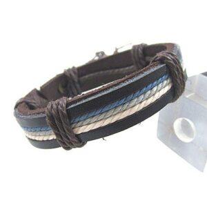 Brett armband i läder och rep - svart / blått / beige