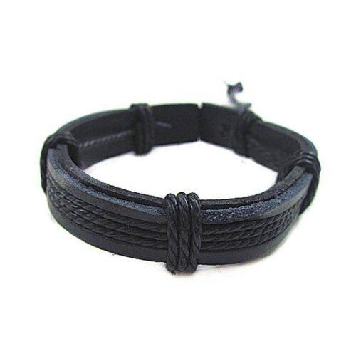 Brett armband i läder och rep - svart