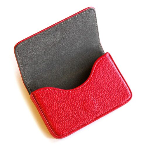 Korthållare / Etui i konstläder med lock - Röd