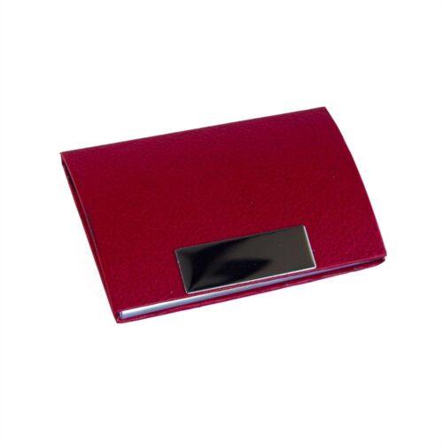 Elegant korthållare i konstläder - röd