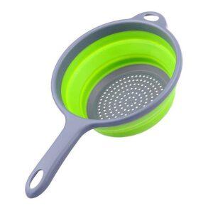 Ihopfällbart durkslag i silikon - Grönt / grått