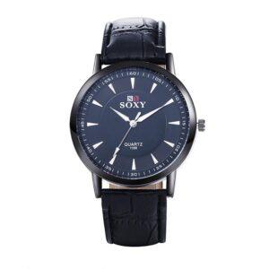 Elegant klocka i svart med svart armband