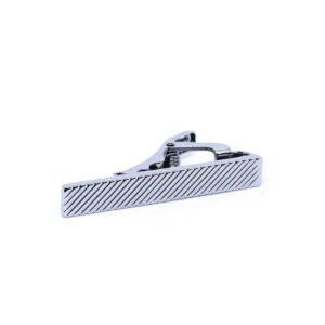 Slipsnål / slipsklämma - Kort silverfärgad m räfflor