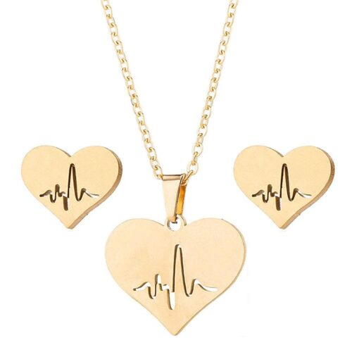 Smyckesset Halsband / Örhängen- Hjärtan Heartbeat