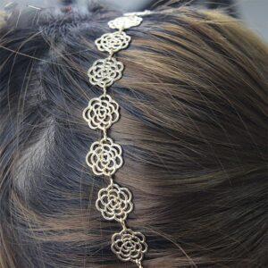Hårband - Blommor i guld