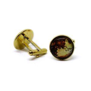 Manschettknappar - Vintage världskarta guld