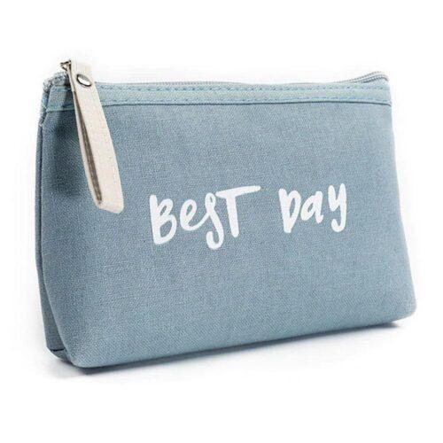 """Lite mindre sminkväska i kanvastyg """"Best Day"""" - Flera färger"""