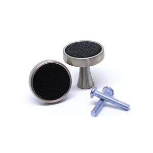 Knoppar 2-pack - Eleganta i metall och läder - Silver / Svart