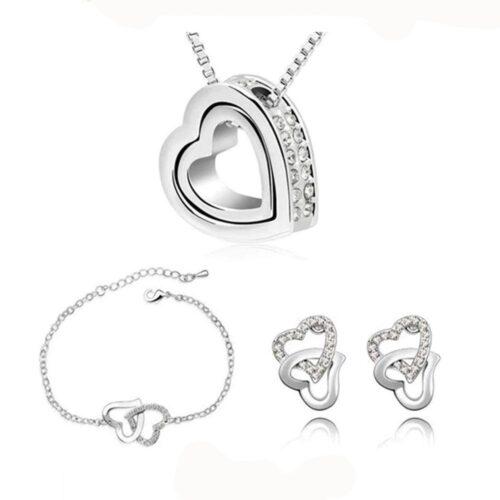 Smyckesset Halsband / Armband / Örhängen- Hjärtan i guld