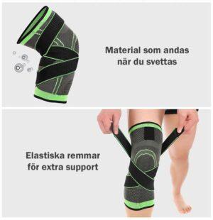 Stabiliserande knäskydd med straps - Svart / Grön - XL