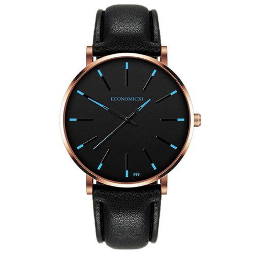 Elegant klocka med accentfärg - Svart / Blå