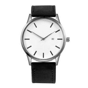 Enkel klocka i vitt med matt svart armband