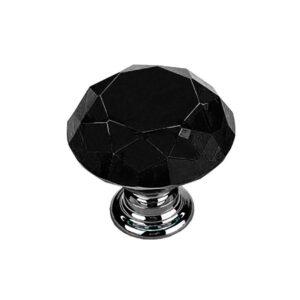 Knoppar 2-pack - Diamant / Kristall Svart med silverfot