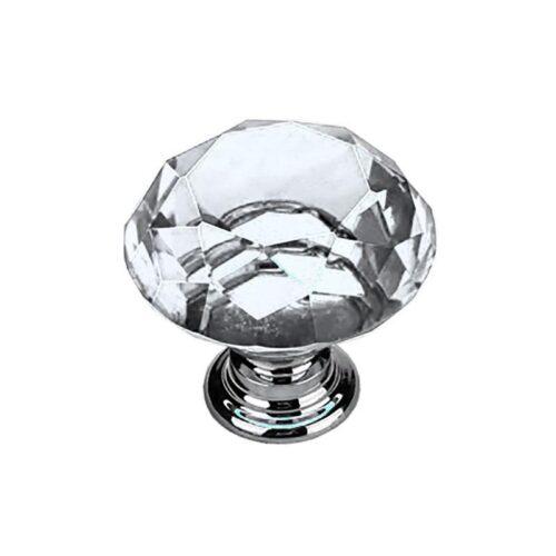 Knoppar 2-pack - Diamant / Kristall med silverfot 20 mm