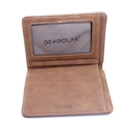 Plånbok i kanvastyg - grå vertikal