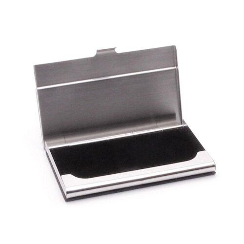 Kortfodral / Korthållare Card Case Stainless / Leather - Svart